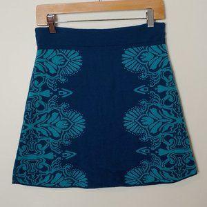 Title Nine Merino Wool Skirt Teal Print Reversible